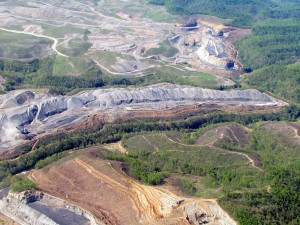 Mountaintop removal mining at Patriot's Hobet mine. Photo by Vivian Stockman. Flyover courtesy SouthWings.org