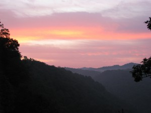 Sunrise at Hawks Nest, Fayette County, WV. Photo by Vivian Stockman