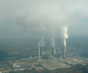 AEP's John Amos coal-fired power plant near Charleston, WV. Photo by Vivian Stockman. Flyover courtesy SouthWings.org