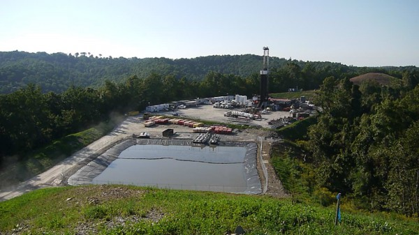 A Marcellus shale drilling operation underway in Doddridge County, WV. Photo by VS.