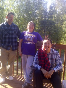 Tiffiny Immingan (middle), and George Pletnikof (seated) are two young Alaskan Native community leaders, active in Alaska's Climate Change and extractive industry struggles.