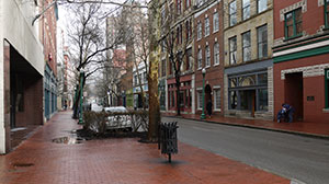 Jan. 10, 2014: Downtown Charleston streets were nearly deserted during the normally busy lunch hour.