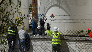 May 21, 2014: Appalachian Spring: DEP and CSB at Freedom Industries.  Contractors for the U.S. Chemical Safety Board start to cut a door into the tank 396 at Freedom Industries, so that they can carry out an inspection.
