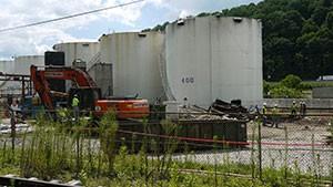 July 16: Freedom Industries tank farm demolition underway.