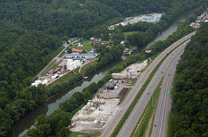 July 23: Aerial view of Freedom Industries tank farm and Elk River