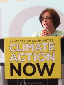 Paula speaking in Pittsburgh, PA about EPA's Clean Power Now rule. Photo by Vernon Haltom.