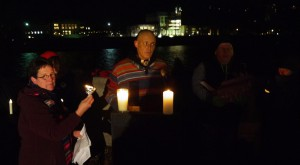 Left to right: Rev. Robin Blakeman (an OVEC organizer), Native American elder Robert Nuckle and OVEC's Dustin White at the Jan. 9, 2015 Interfaith Candlelight Vigil to mark the one-year anniversary of the chemical spill that contaminated the water of 300,000 West Virginians.