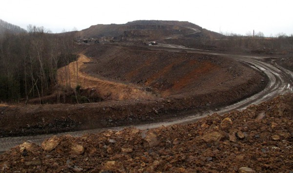 A haul road leads to the top of the Tams mountaintop removal mine near Beckley, W. Va., which is operated by Jim Justice's Southern Coal Corp.