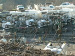 Trucks at a fracking site in north-central WV. Photo courtesy WV Host Farms.