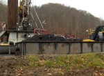 Drill cuttings at a well pad in north-central West Virginia, awaiting transport to a landfill. Photo by Bill Hughes