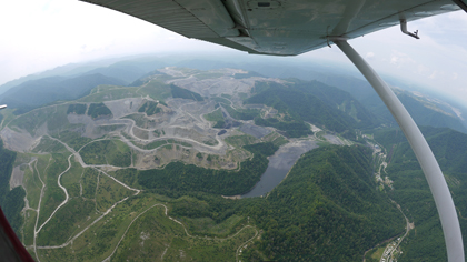 MTR obliterates streams. Thanks to SouthWings for the flyover on 9-29-15. Fish-eye lens photo by V. Stockman.