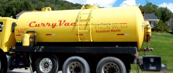 Bill snapped this shot in New Martinsville in Sept. 2014. Triple labels! Take your pick: brine, fresh water or residual waste.
