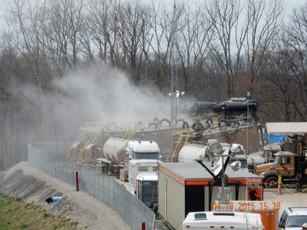 Folks in northern West Virginia advise you to expect air (in this case, deadly silica dust), noise and water pollution if fracking operations move into your area. Photo by Bill Hughes.