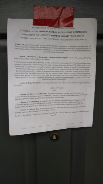Eminent domain proclamation attached to the home of FERC commissioner Bay.