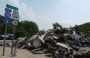 June 27, 2016. Debris from homes in Clendenin piled up near I-79. Photo: V. Stockman