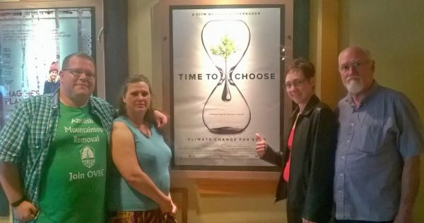 """While in DC, the WV crew takes in a showing of """"Time to Choose."""" OVEC helped the researchers and film crew for the MTR segment. Left to right: Dustin White, Wendy Johnson, April Keating."""
