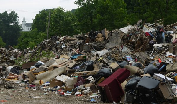 In Clay County, a mountain of debris from flooded homes. Photo by Vivian Stockman.