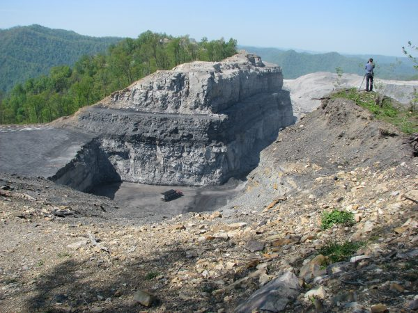 Kayford Mountain in summer... eaten alive by mountaintop removal coal mining. Photo by Vivian Stockman.