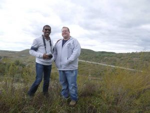 "Charles and Dustin at a  ""reclaimed"" mountaintop removal site. No more forest,  and polluted streams..."