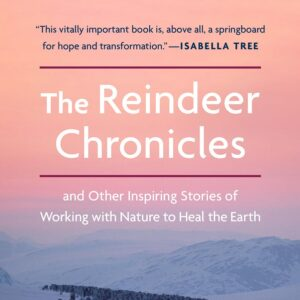 A section of the cover of the book The Reindeer Chronicles is shown: an image of pink skies over mountains with text overlaid
