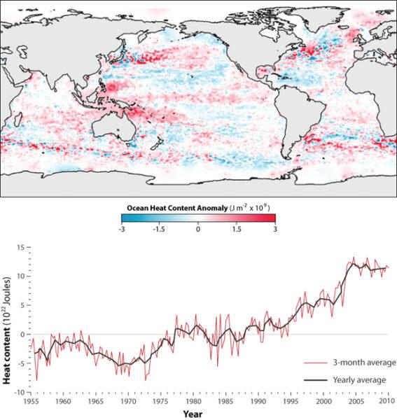 NOAA map of warming oceans